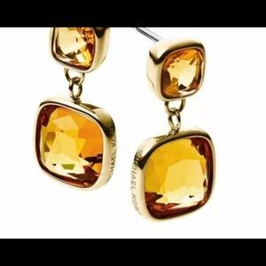 M KORS GOLD CITRINE DESIGNER DANGLE EARRINGS